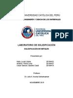 Informe de Solidificacion