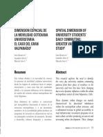 DIMENSIÓN ESPACIAL DE LA MOVILIDAD COTIDIANA UNIVERSITARIA