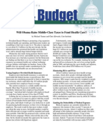 Will Obama Raise Middle-Class Taxes to Fund Health Care?, Cato Tax & Budget Bulletin