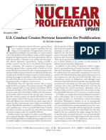 U.S. Conduct Creates Perverse Incentives for Proliferation, Cato Nuclear Proliferation Update