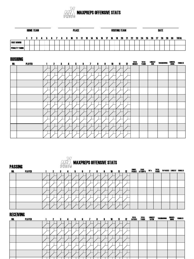 Sample Football Score Sheet   Staruptalent.com