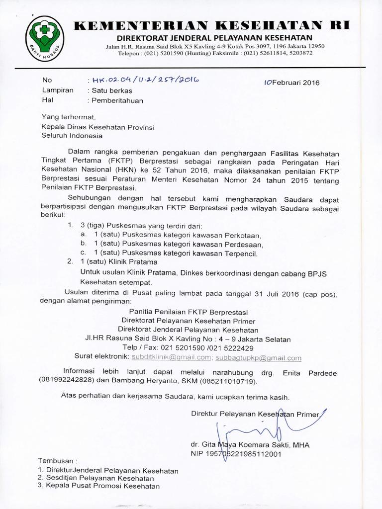 Surat Dinas Kesehatan Provinsi