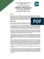 RESOLUCION PRESIDENCIAL N° 009 2016 MODIFCACION PRESUPUESTARIA