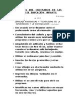 UTILIDADES   DEL   ORDENADOR   EN   LAS   AULAS DE  EDUCACIÓN   INFANTIL