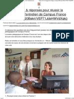 21 Questions & Réponses Pour Réussir La Préparation de l'Entretien de Campus France