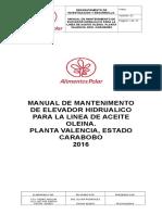 Manual de Mantenimiento Del Elevador Hidrualico