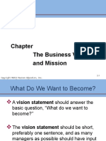 The Business Mission and Vision
