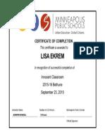 innocent classroom certificate