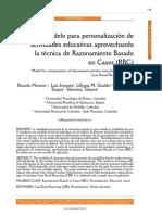 Modelo para personalización de actividades educativas aprovechando la técnica de Razonamiento basado en Casos (RbC)