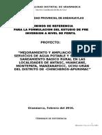 Tdr - Perfil Saneamiento Uranmarca