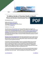 press release -  naloxone  overdose death reduction bill passes legislature