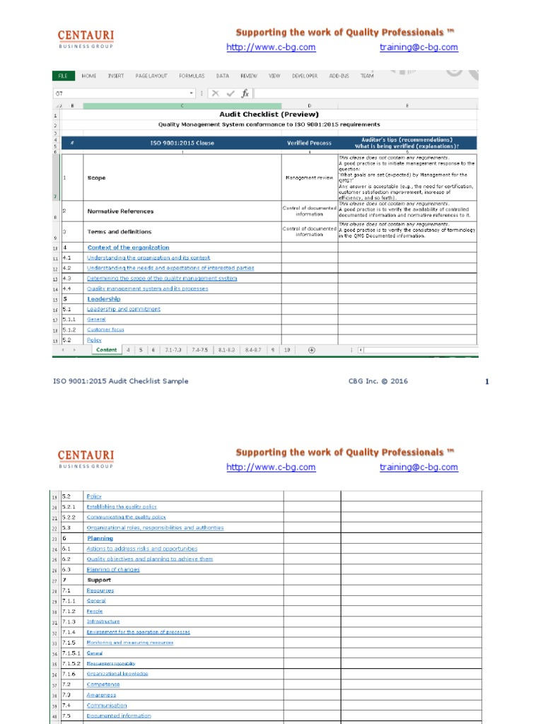 ISO 9001:2015 Audit checklist in MS Excel (preview) | Iso 9000 | Audit