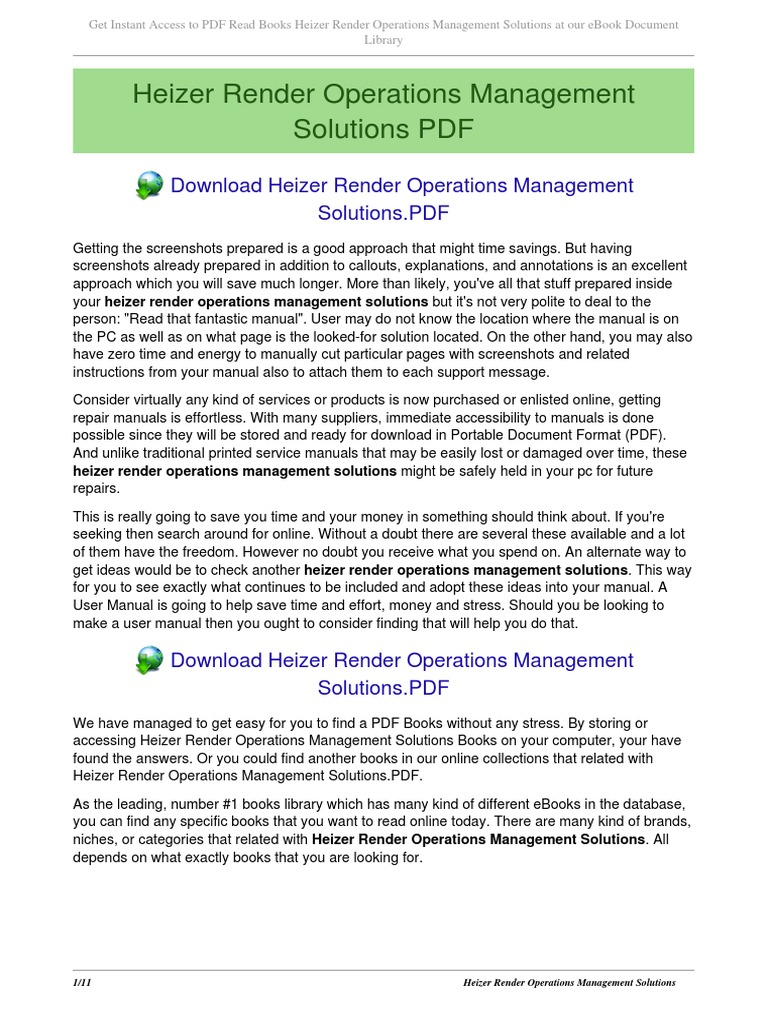 Heizer Render Operations Management Solutions   E Books   Portable Document  Format