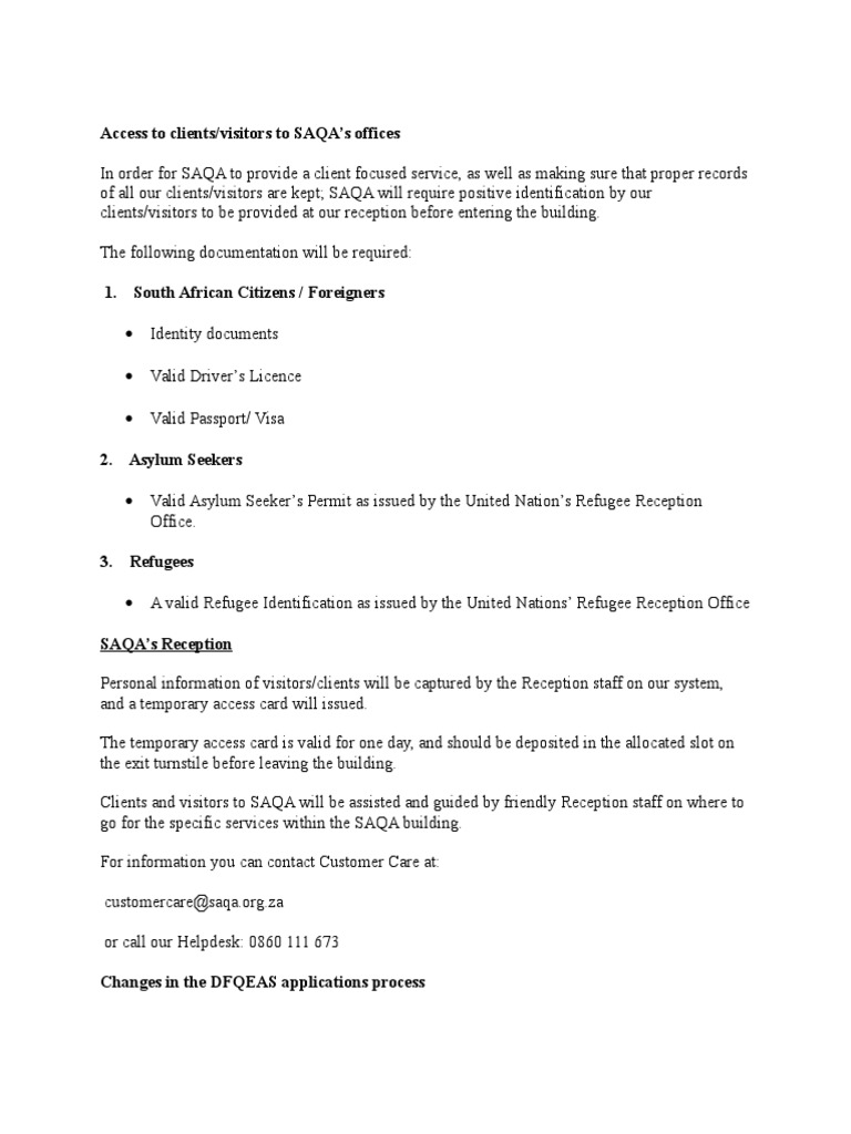 Saqa Information Identity Document Politics