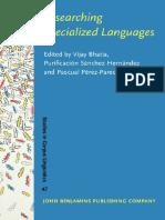 Bhatia, Hernández, Pérez-Paredes - 2001 - Researching Specialized Languages