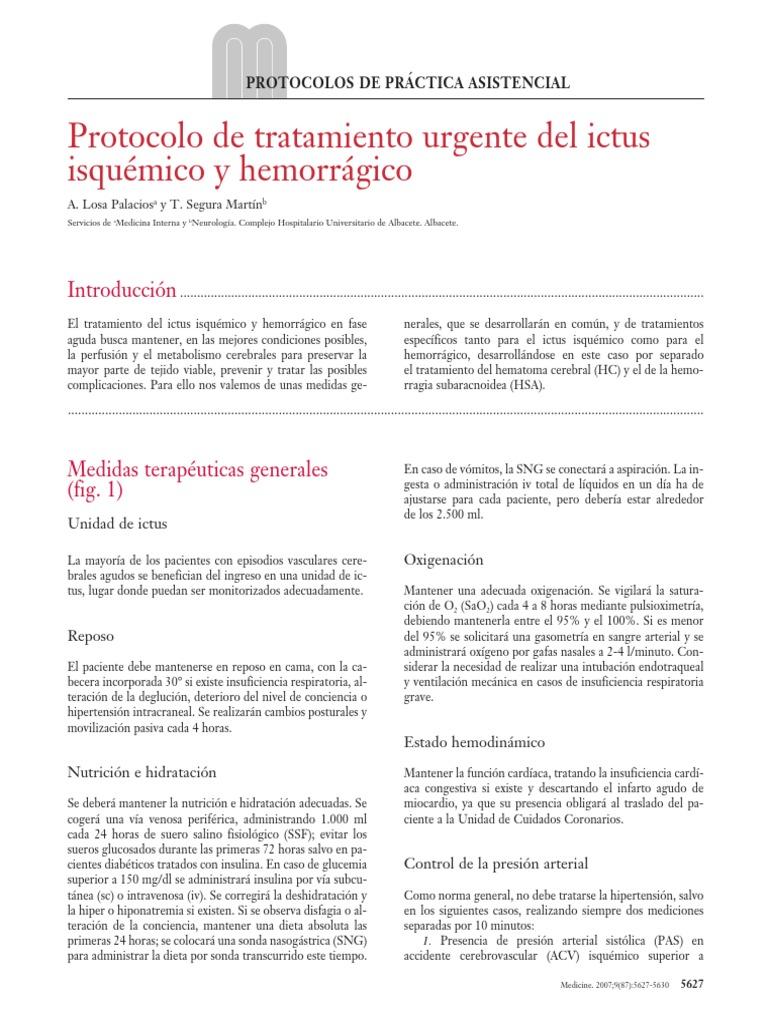 Ictus hemorrágico y tratamiento de la hipertensión