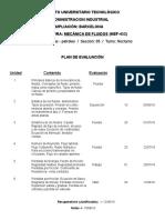 Plan de Evaluacion Mecanica de Fluidos