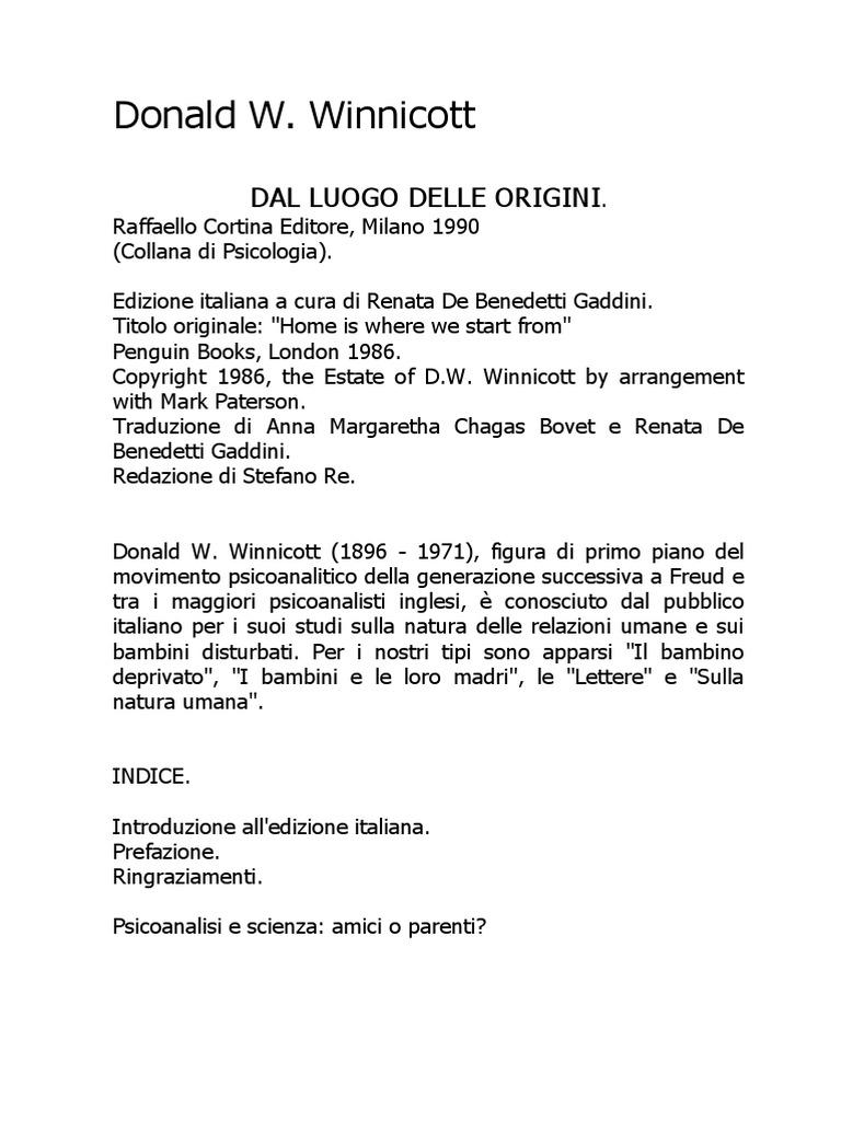 Favoloso Donald W Winnicott - Dal Luogo Delle Origini SM86