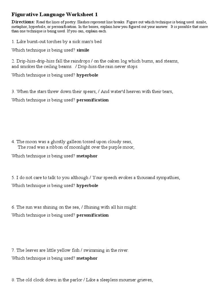 Uncategorized Simile Metaphor Personification Worksheet figurative language worksheet 1