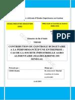 Contribution a Lamelioration Du Controle Budgetaire a La Performance Dune Entreprise Cas de AGRO