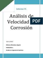 Informe IV. Velocidad de Corrosión