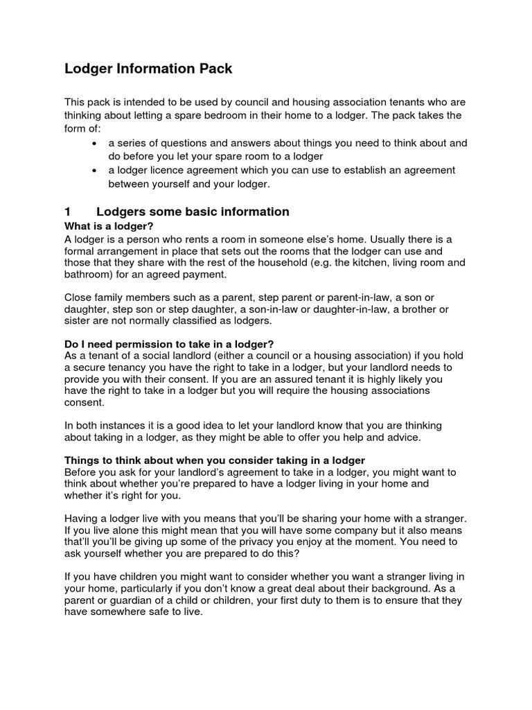 Lodger Information Pack Leasehold Estate Eviction