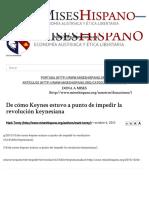 De Cómo Keynes Estuvo a Punto de Impedir La Revolución Keynesiana Mises Hispano