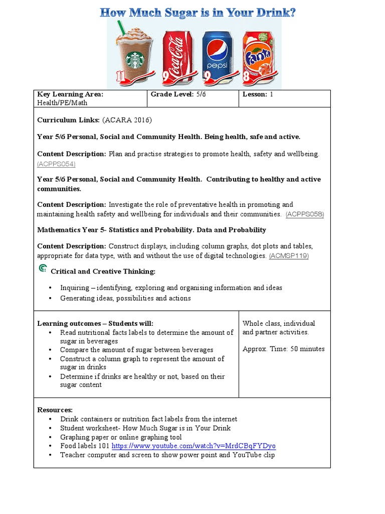 Nutrition Lesson Plan Drinks Food Labels Drink Nutrition Facts Label [ 1024 x 768 Pixel ]