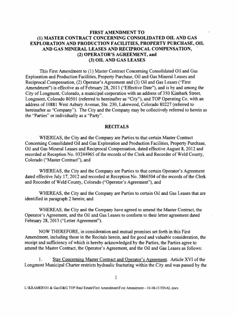 rider well amendment lease fee