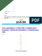 5 en 1 Auriculares + Cable USB + Cargador para Corriente + Divisor de Auriculares + Cargador para Auto.doc