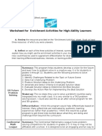 worksheet for  enrichment activities for high ability learners
