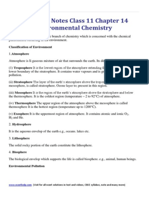 Chemistry Notes Class 11 Chapter 14 Environmental Chemistry