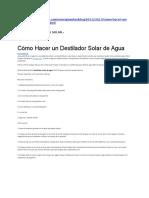 Destilador de Agua Solar