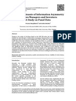 Determinations of Information Asymmetry Between Managers and Investor a Study on Panel Data