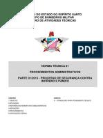 CBMES NT 01-2010 - Procedimentos administrativos, Parte 1 - Processo de Segurança Contra Incêndio e Pânico.pdf