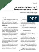 FSAE Suspension and Frame Design