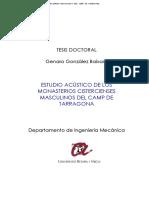Estudio Acústico de Los Monasterios Cistercienses Masculinos Del Camp de Tarragona