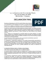 Declaración Final del XIV encuentro del Foro de Sao Paulo
