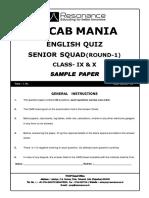 Senior Squad (IX to X) Sample Paper