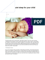 20 Tips for Quiet Sleep for Your Child