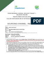 Pengumuman Jadwal Seleksi Tahap 1