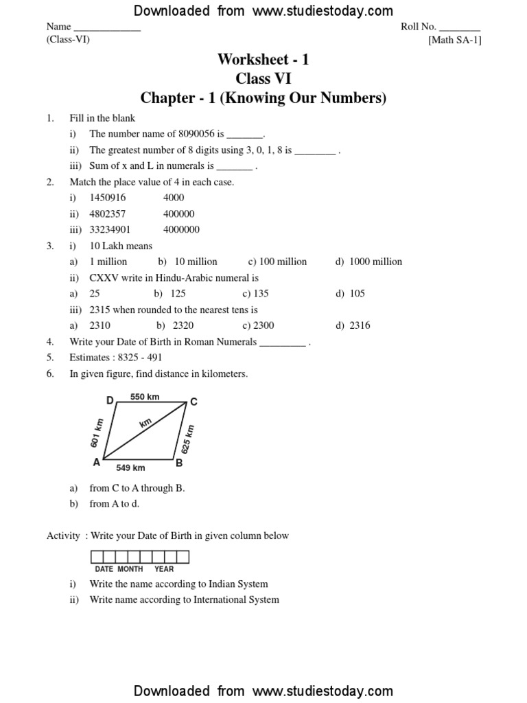 CBSE Class 6 Knowing Our Numbers Worksheet.pdf