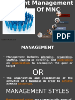 differnt managment style in mnc