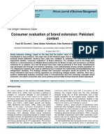 Consumer Evaluation of Brand Extention- A Pakistani Context(ODD)