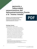 """Santiago Acosta, """"Posthegemonía y postsubalternidad"""