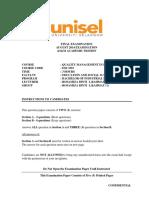 Quality Management exam paper
