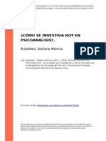 Rubistein, Adriana Monica (2007). ¿Como Se Investiga Hoy en Psicoanalisiso