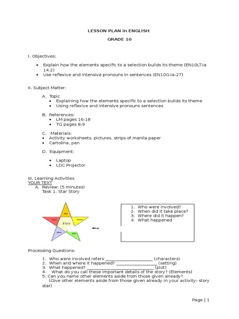 worksheet Reflexive And Intensive Pronouns Worksheet lesson plan for demonstration josenia 6 pages long minotaur