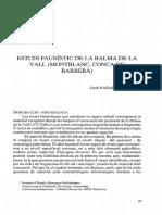 ESTUDI FAUNISTIC DE LA BALMA DE LA VALL (MONTBLANC, CONCA DE BARBERÀ)