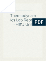Thermodynamics Lab Report - H111J Unit